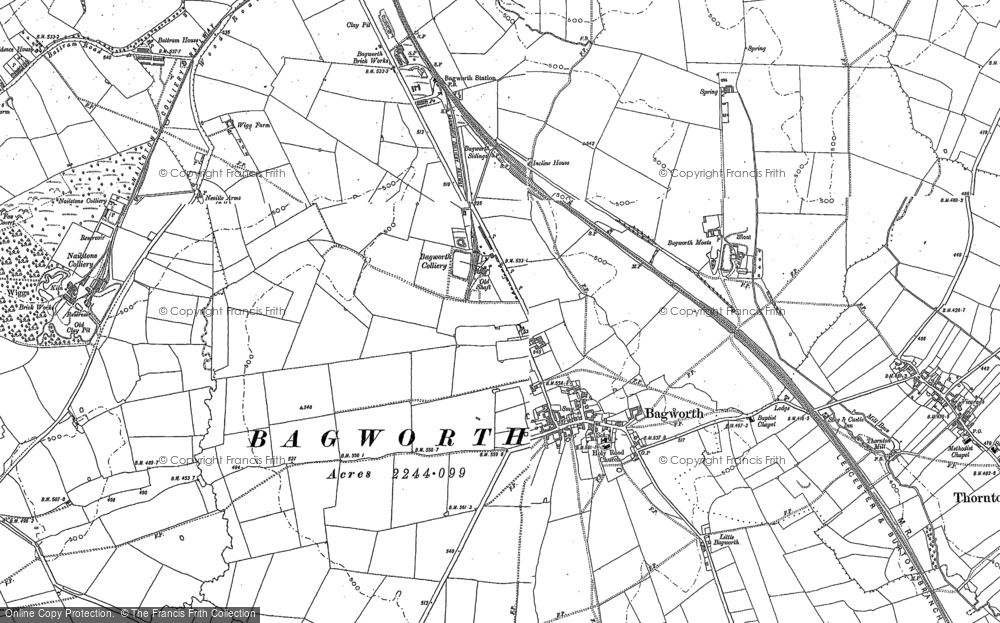Old Map of Historic Map covering Bagworth Wood in 1881