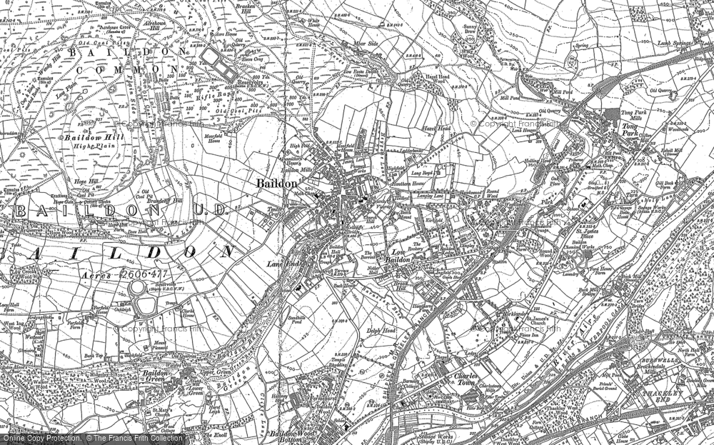 Old Map of Baildon, 1891 in 1891