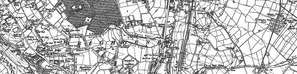 Old map of Bailiff Bridge in 1892