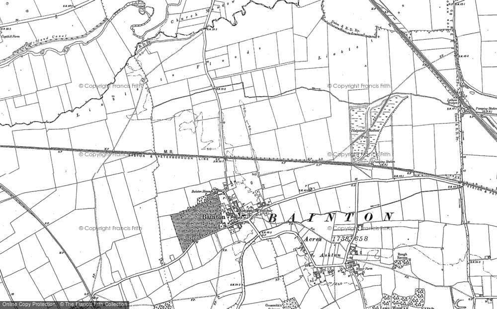 Old Map of Bainton, 1886 - 1899 in 1886