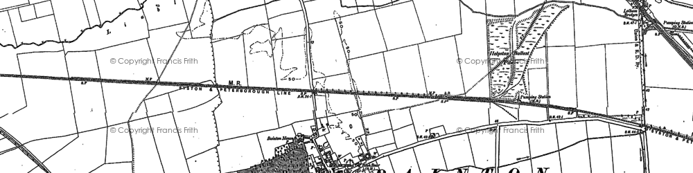 Old map of Bainton in 1886