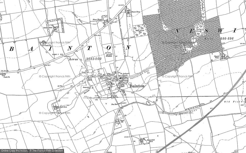 Old Map of Bainton, 1890 - 1891 in 1890