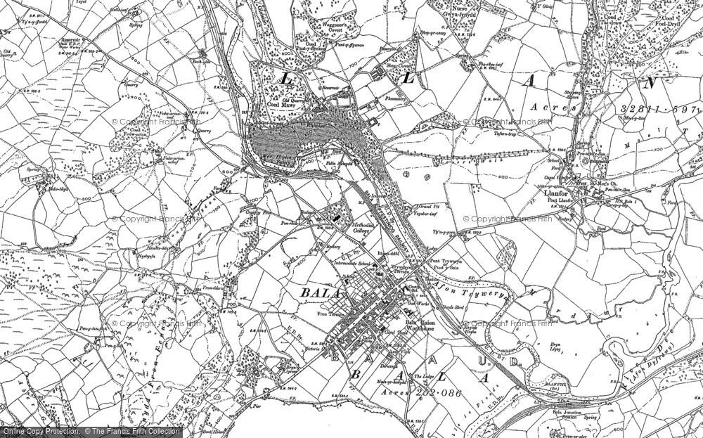 Old Map of Bala, 1886 in 1886