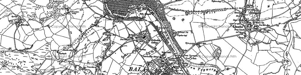 Old map of Bala in 1886