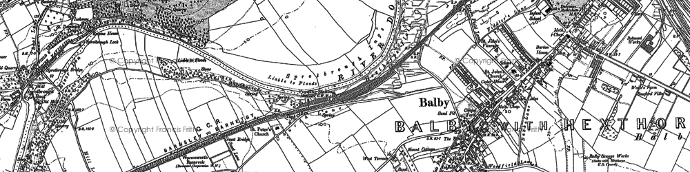 Old map of Balby in 1890