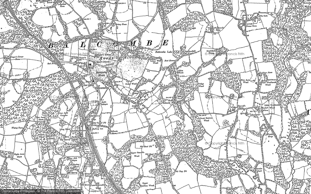 Old Map of Historic Map covering Balcombe Forest in 1896