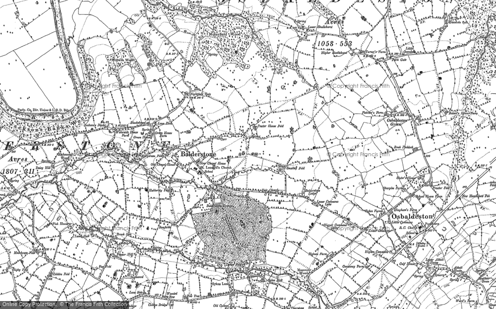 Old Map of Balderstone, 1892 in 1892