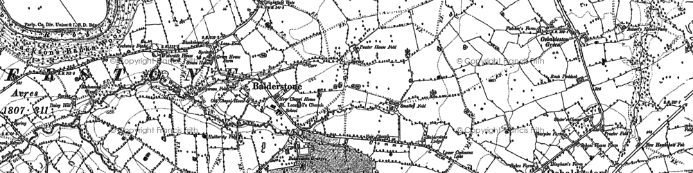 Old map of Balderstone in 1892