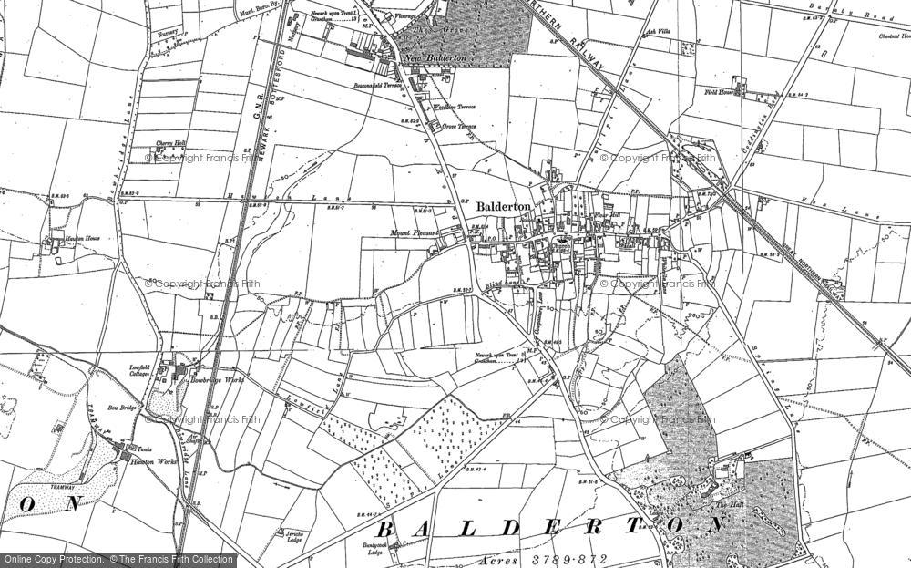 Old Map of Balderton, 1886 - 1899 in 1886