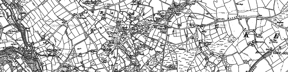 Old map of Wheal Baddon in 1879