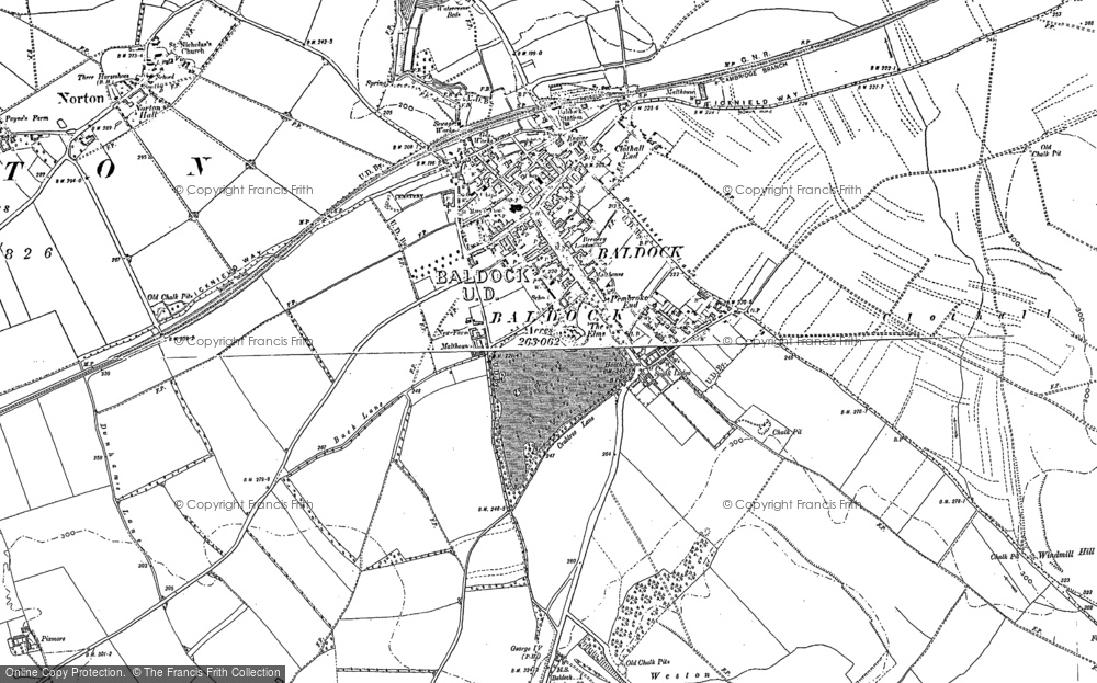 Old Map of Baldock, 1896 - 1921 in 1896