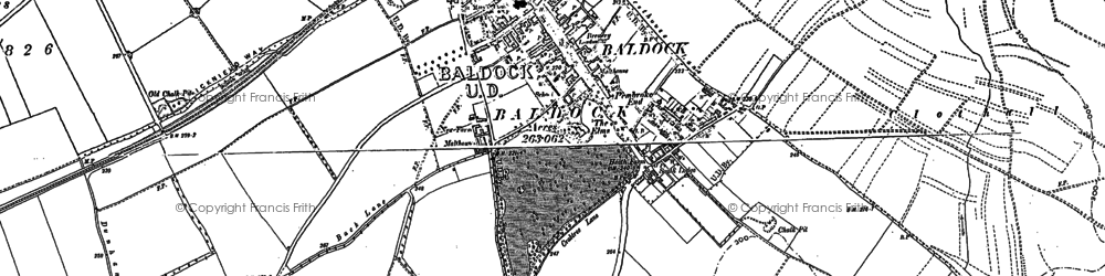 Old map of Baldock in 1896