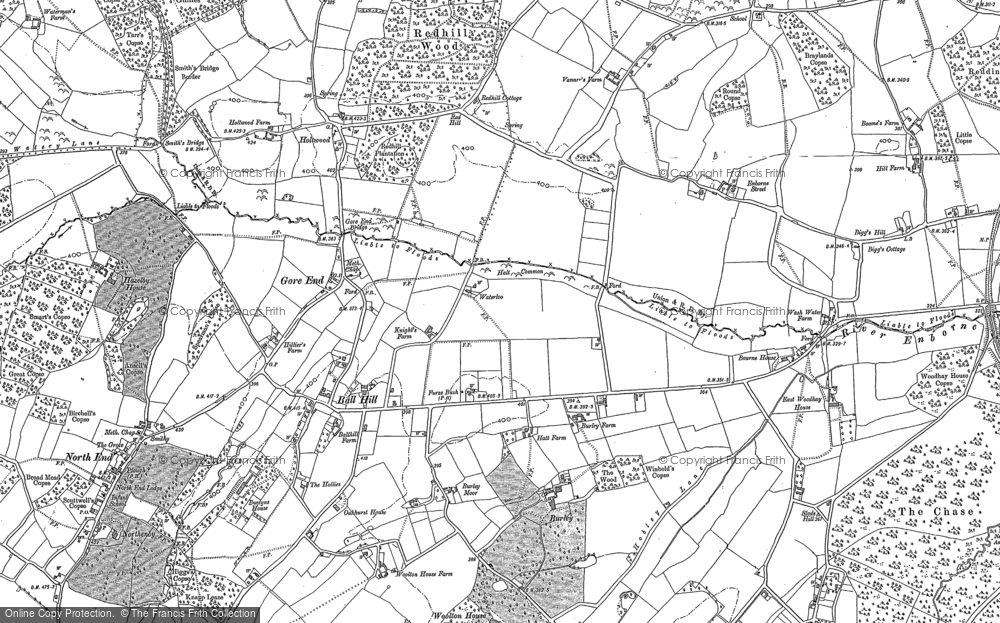 Old Map of Ball Hill, 1909 - 1938 in 1909