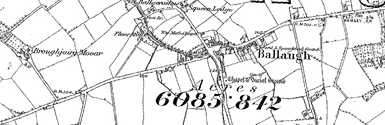 Old map of Ballaugh Plantation centred on your home