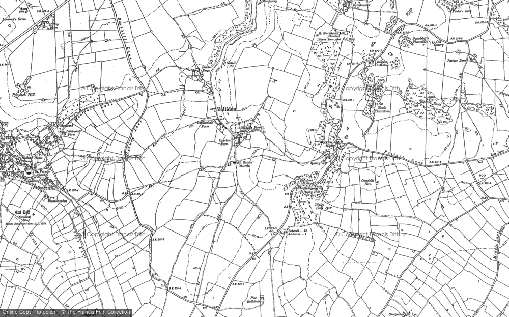 Old Map of Ballidon, 1879 - 1898 in 1879