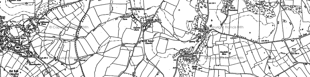 Old map of Ballidon in 1879