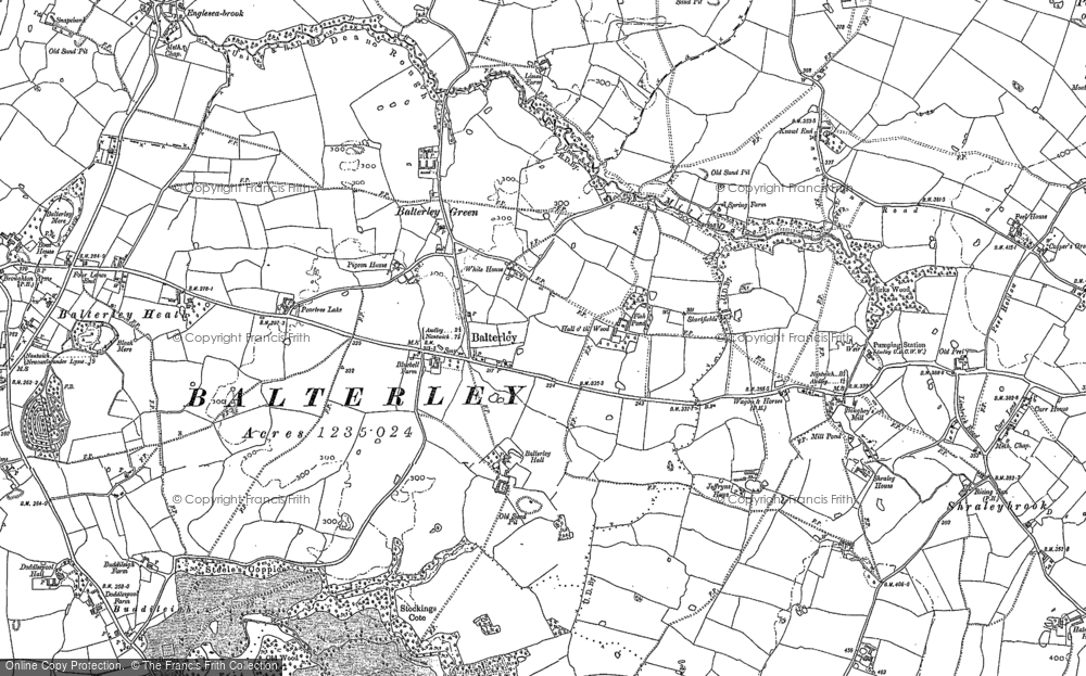 Old Map of Historic Map covering Balterley Green in 1898