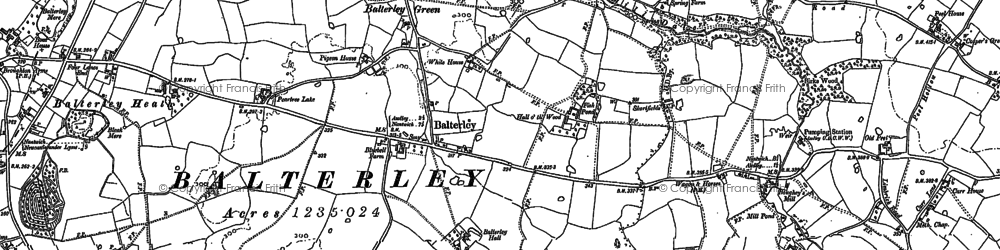 Old map of Balterley in 1898