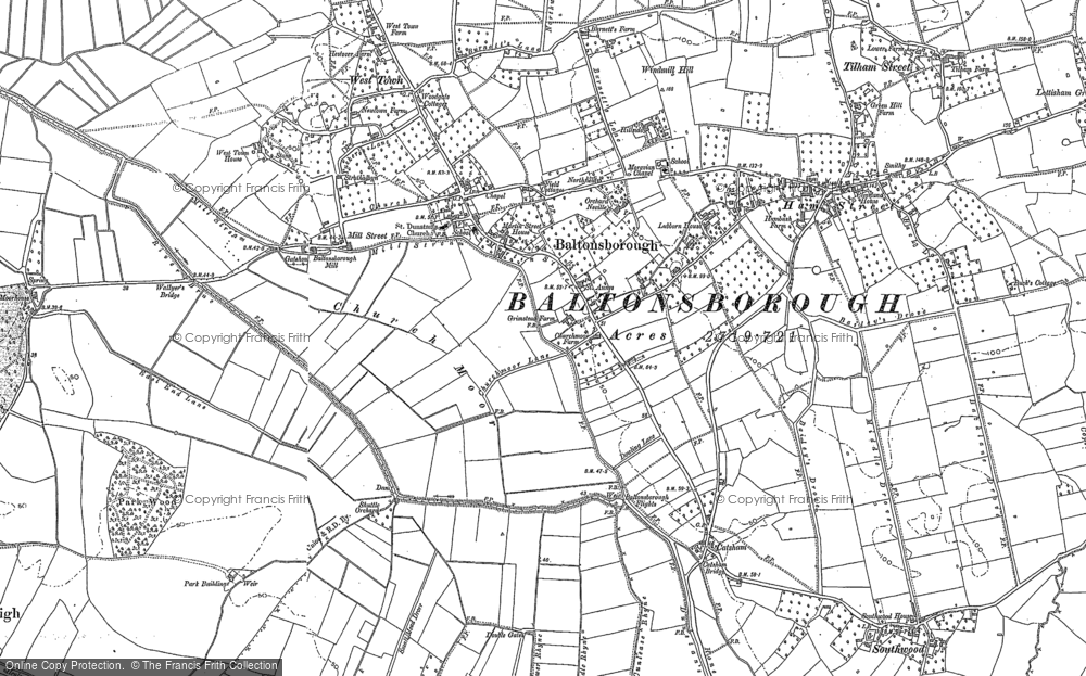Old Map of Baltonsborough, 1885 in 1885