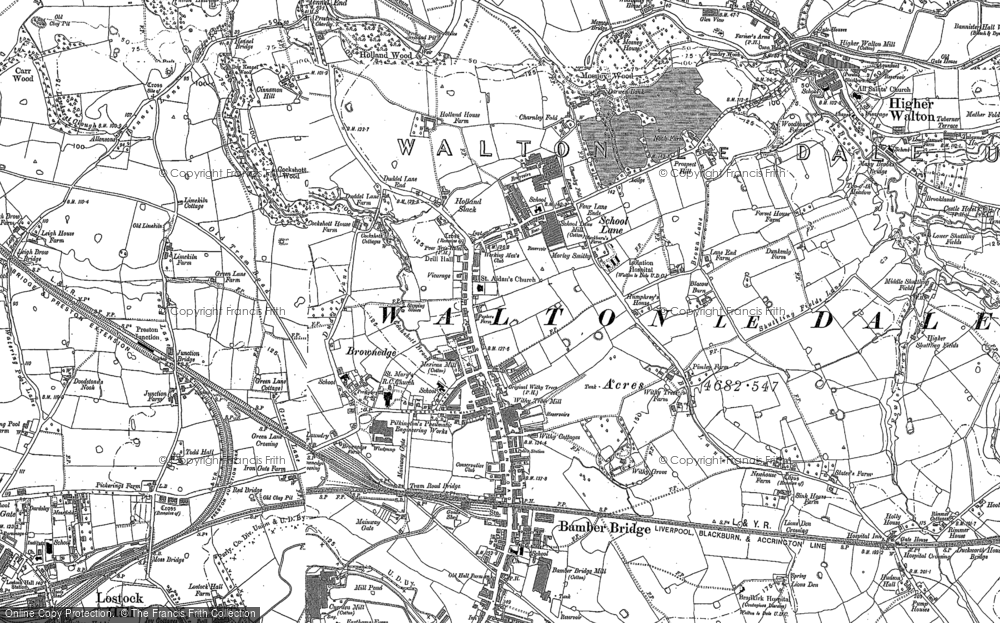 Old Map of Bamber Bridge, 1892 in 1892