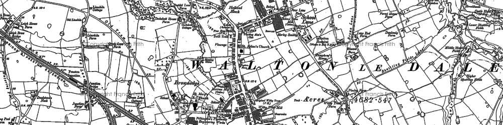 Old map of Bamber Bridge in 1892