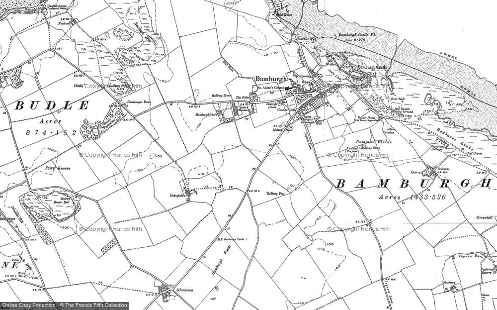 Old Map of Bamburgh, 1896 - 1897 in 1896