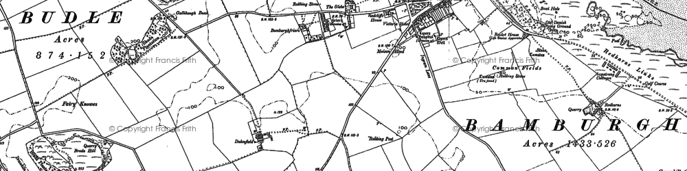 Old map of Bamburgh in 1896