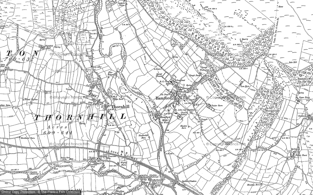 Old Map of Bamford, 1897 in 1897