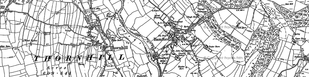 Old map of Bamford Moor in 1897