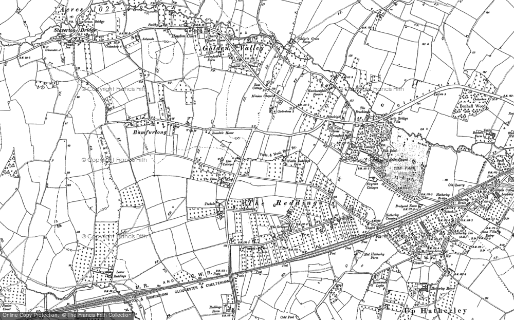 Old Map of Bamfurlong, 1884 in 1884