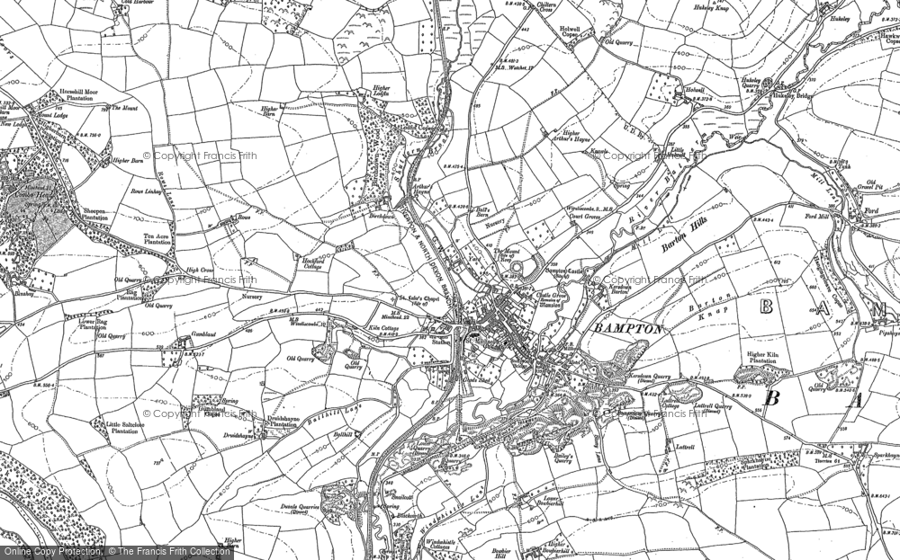 Old Map of Bampton, 1887 - 1903 in 1887
