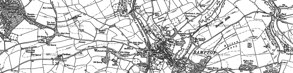Old map of Bampton in 1887