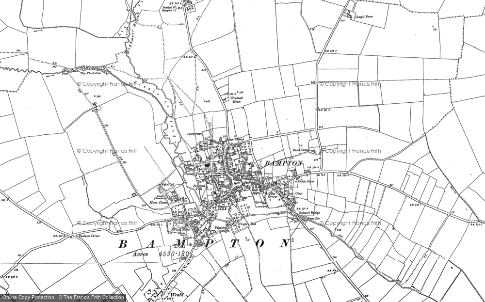 Old Map of Bampton, 1910 - 1919 in 1910