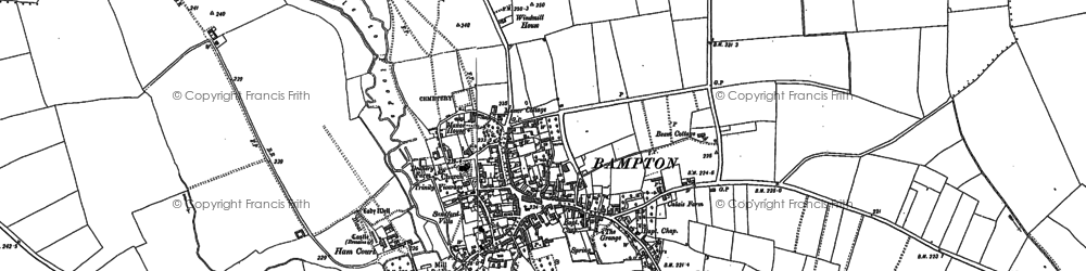 Old map of Bampton in 1910