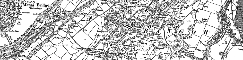 Old map of Bangor in 1899