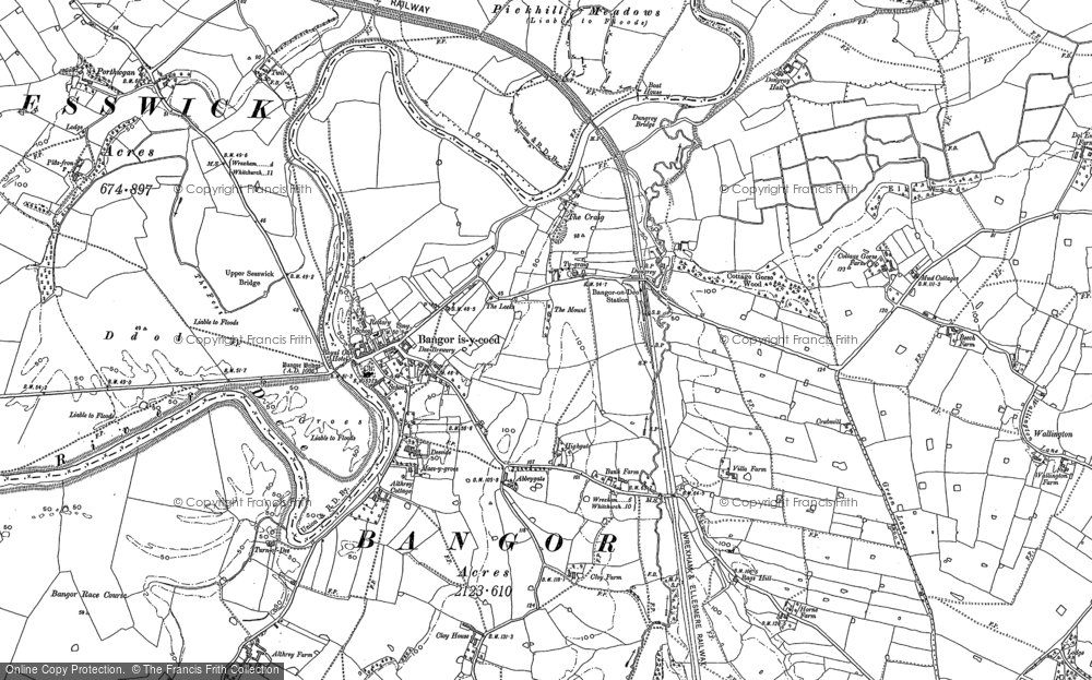 Old Map of Bangor on Dee, 1909 in 1909