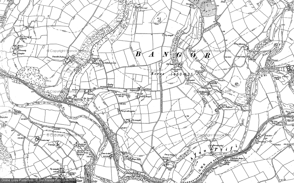 Old Map of Historic Map covering Aberhoffnant in 1887