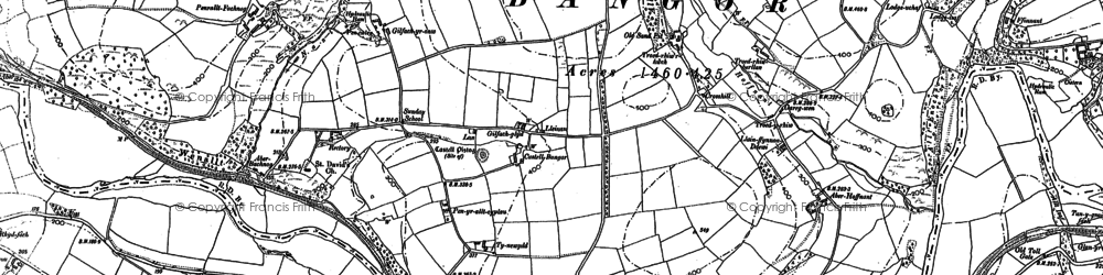 Old map of Bangor Teifi in 1887