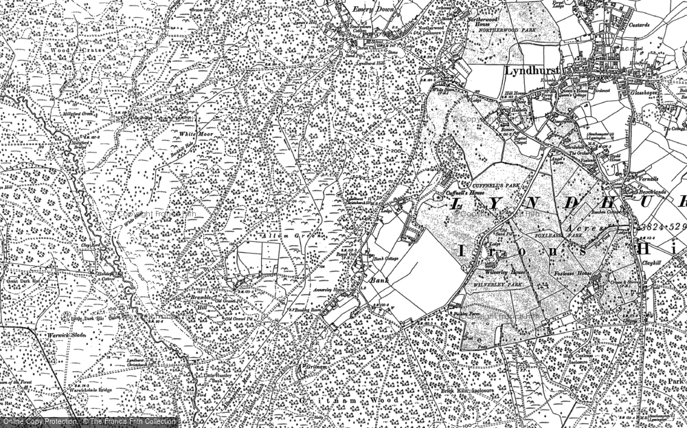 Old Map of Historic Map covering Wooson's Hill Inclosure in 1896