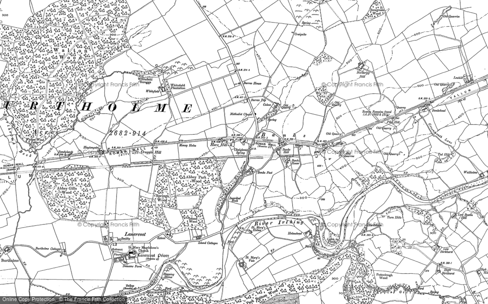 Old Map of Historic Map covering Allieshaw Rigg in 1899