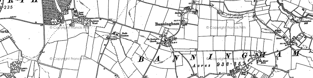 Old map of Banningham in 1885