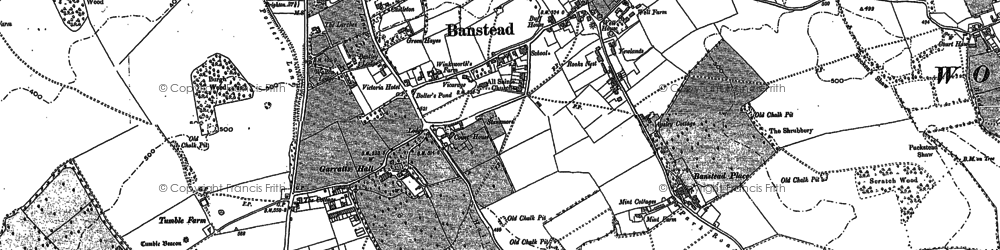 Old map of Banstead in 1894