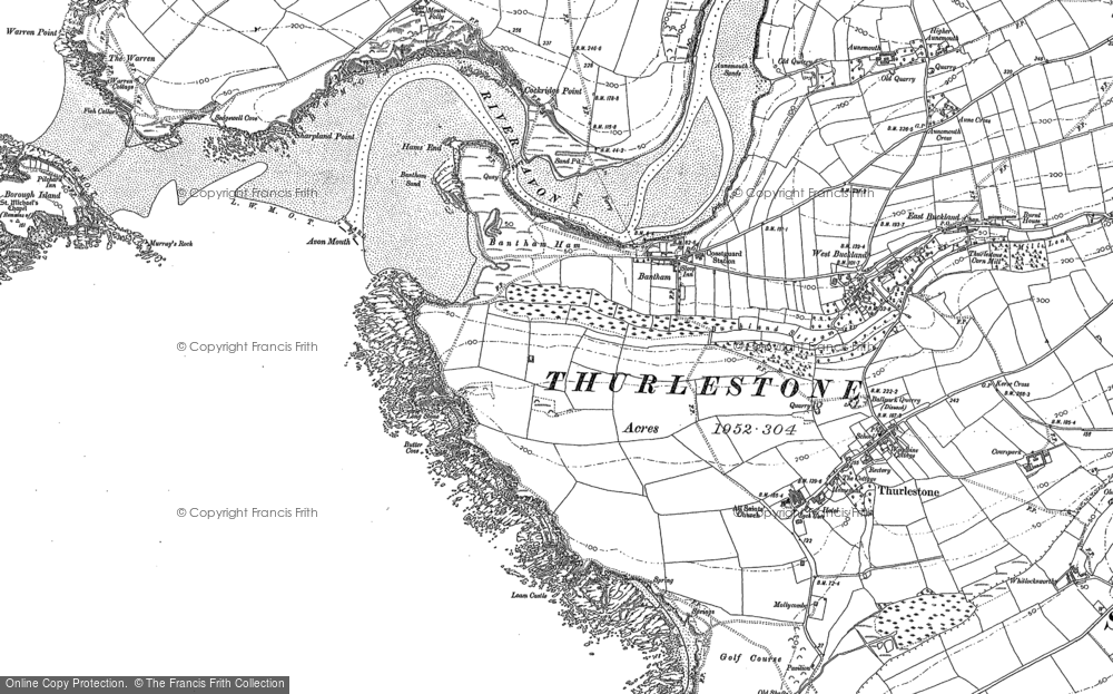 Old Map of Bantham, 1884 - 1905 in 1884