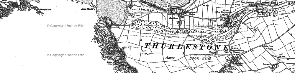 Old map of Bantham in 1884
