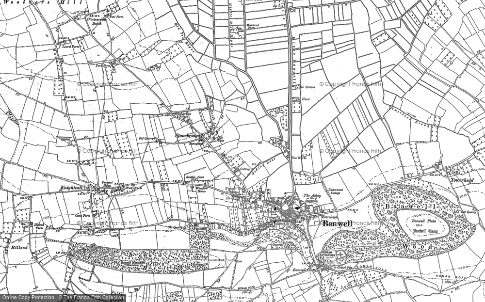 Old Map of Banwell, 1884 in 1884