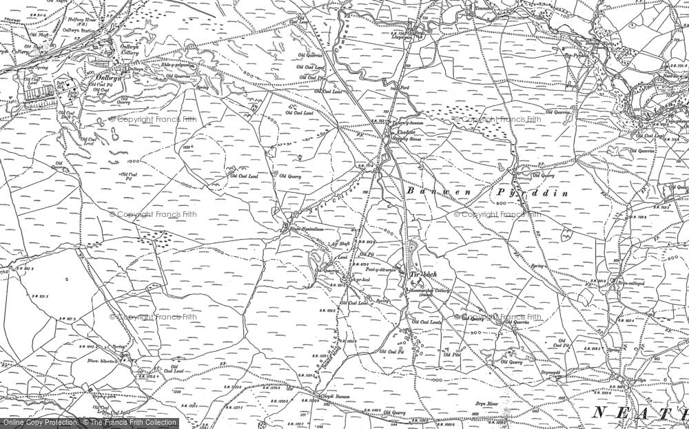 Old Map of Historic Map covering Banwen Pyrddin in 1903