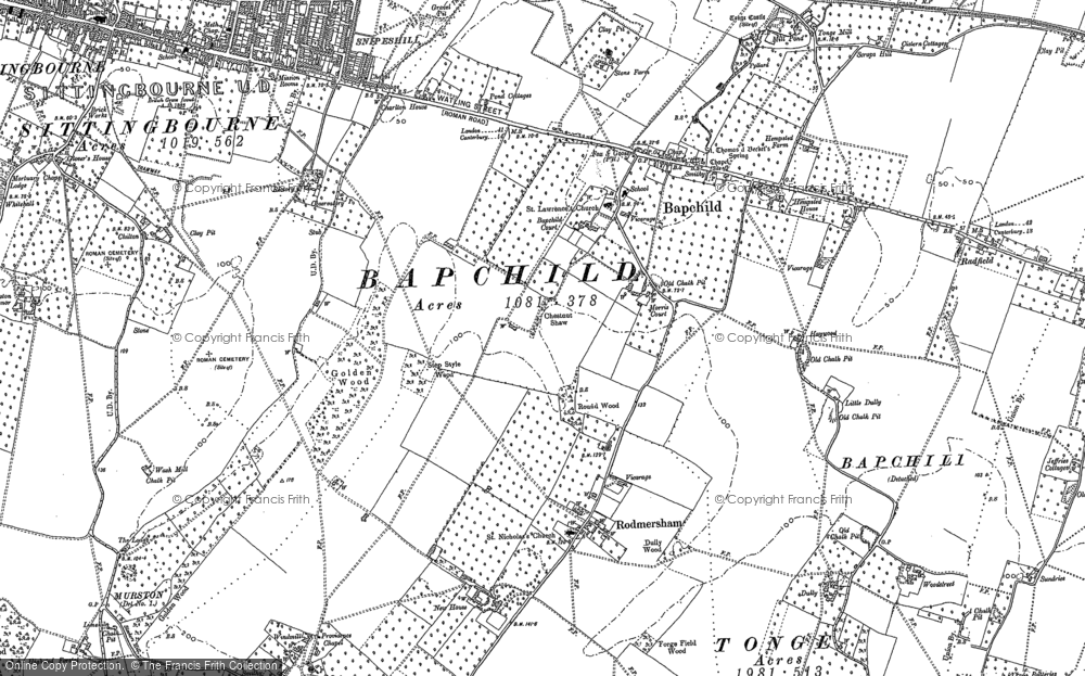 Old Map of Bapchild, 1896 in 1896