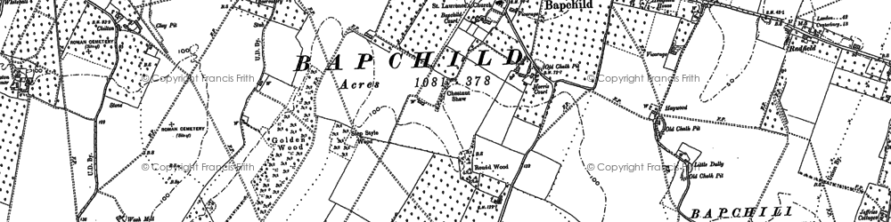 Old map of Bapchild in 1896