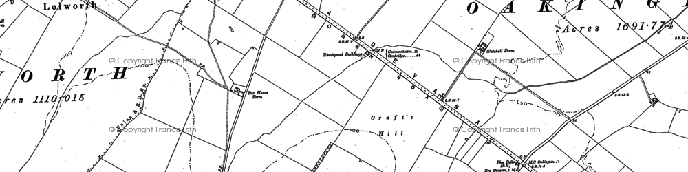 Old map of Bar Hill in 1886
