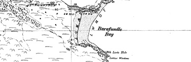 Old map of Barafundle Bay centred on your home